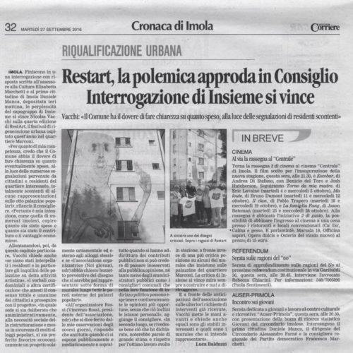 NICOLAS VACCHI (ISV): IL COMUNE FACCIA CHIAREZZA SU QUANTO REALMENTE SPESO PER LA MANIFESTAZIONE RESTART