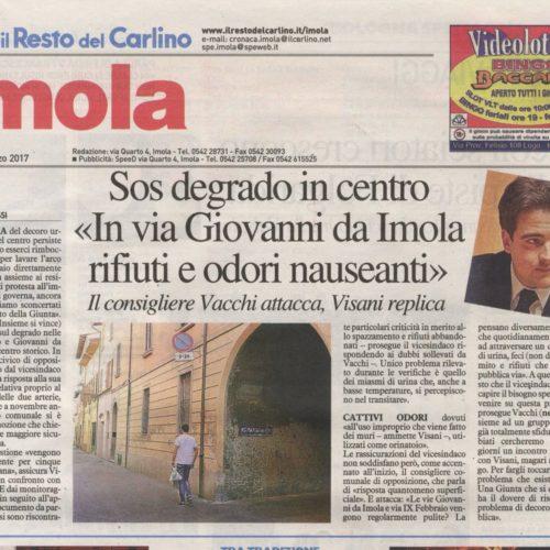 VACCHI: SOS DEGRADO IN CENTRO STORICO, CHIEDE INCONTRO AL VICESINDACO