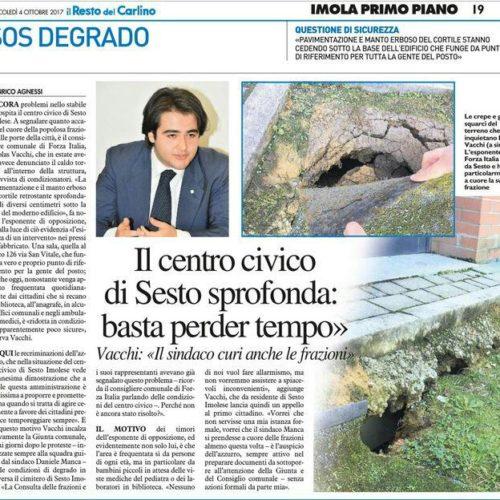 VACCHI (FI): AL CENTRO CIVICO DI SESTO IMOLESE SITUAZIONE CRITICA