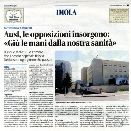 NICOLAS VACCHI (FI): GRANDI DUBBI SU INTEGRAZIONE ASL IMOLA – BOLOGNA