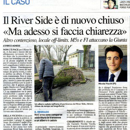 NICOLAS VACCHI (FI): RIVERSIDE INATTIVO, CORTINA DI FUMO DA PARTE DEL COMUNE