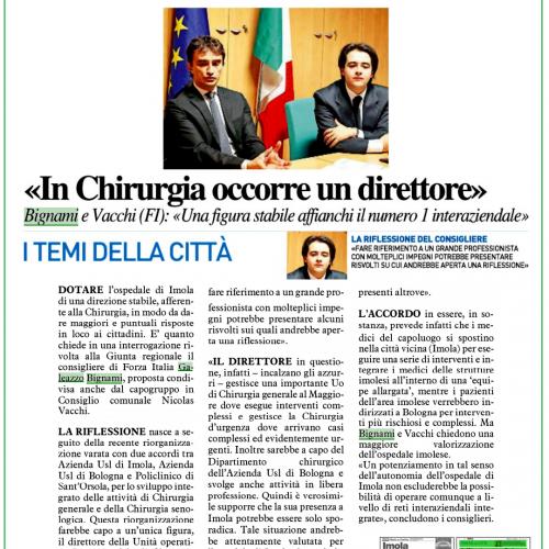 """CHIRURGIA IMOLA, BIGNAMI-VACCHI (FI)  """"POTENZIARE AUTONOMIA DELL'OSPEDALE IMOLESE"""""""