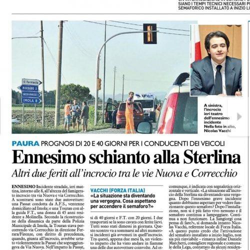 NICOLAS VACCHI (FORZA ITALIA): INCIDENTE ALLA STERLINA, IL SINDACO SI MUOVA AD ATTIVARE IL SEMAFORO