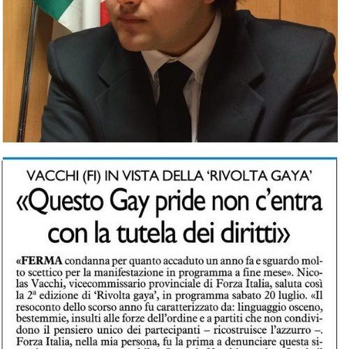 NICOLAS VACCHI (FI): A IMOLA, SECONDA RIVOLTA GAYA, VOGLIAMO RIPETERE LE SCENE OFFENSIVE DI UN ANNO FA?