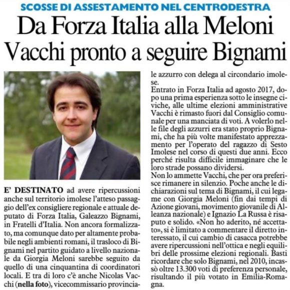 DA FORZA ITALIA ALLA MELONI VACCHI PRONTO A SEGUIRE BIGNAMI