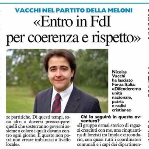 «Entro in FdI per coerenza e rispetto» Vacchi nel partito della Meloni: «Fedele ai valori del centrodestra»