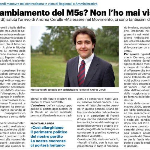 NICOLAS VACCHI (FDI): IL CAMBIAMENTO NEL M5S? MAI VISTO