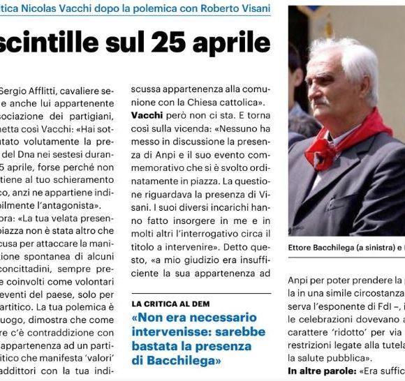 NICOLAS VACCHI (FDI): 25 APRILE A SESTO IMOLESE, A CHE TITOLO INTERVIENE L'EX VICESINDACO?