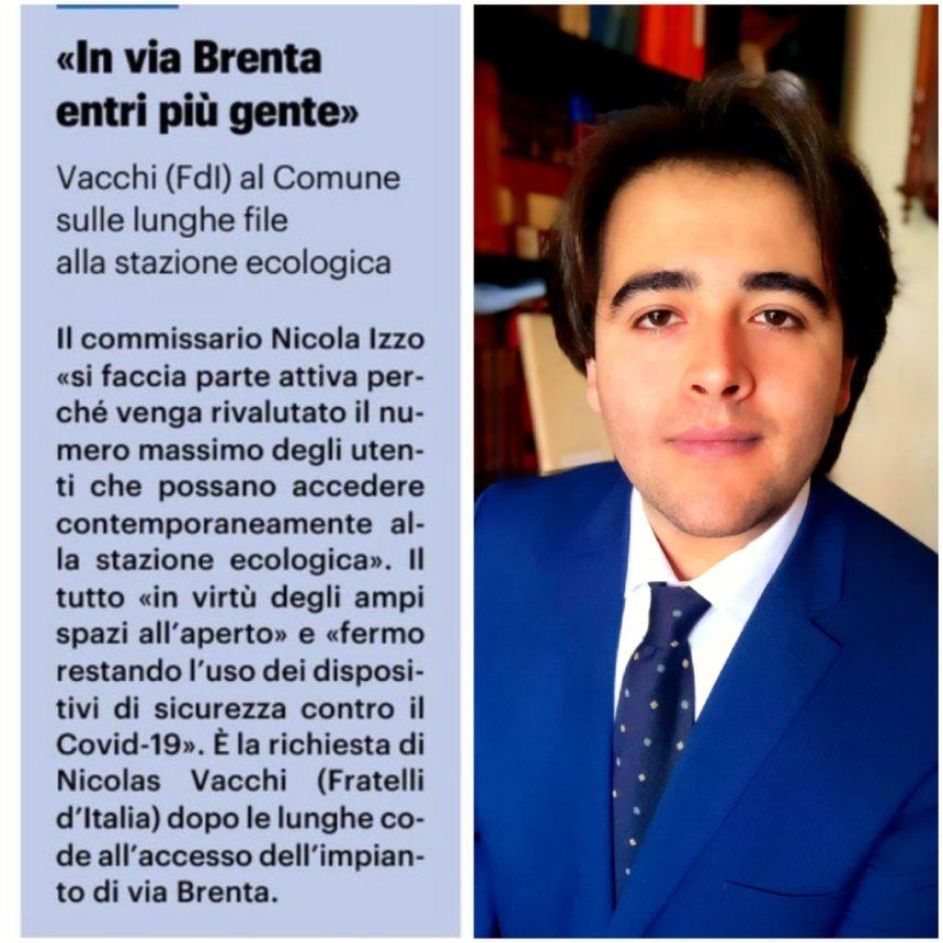NICOLAS VACCHI (FDI) STAZIONE ECOLOGICA, LE PROPOSTE DI FDI PER RIDURRE LA FILA