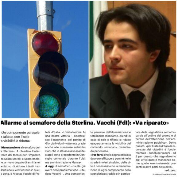 """ALLARME SEMAFORO DELLA STERLINA. NICOLAS VACCHI (FDI): """"VA RIPARATO"""""""