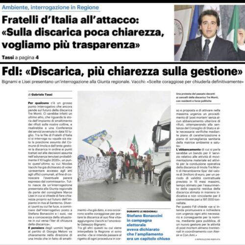 Fratelli d'Italia all'attacco: «Sulla discarica poca chiarezza, vogliamo più trasparenza»