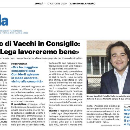 """IL RITORNO DI VACCHI IN CONSIGLIO: """"CON LA LEGA LAVOREREMO BENE"""""""
