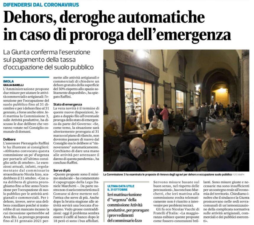 DEHORS, DEROGHE AUTOMATICHE IN CASO DI PROROGA DELL'EMERGENZA