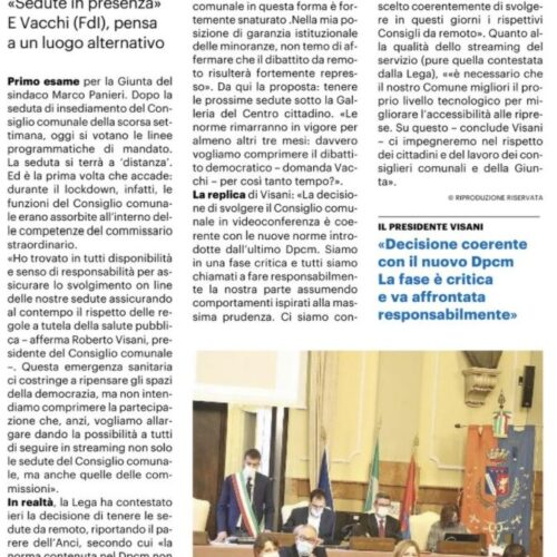 CONSIGLIO, PRIMA VOLTA ONLINE. AL VOTO LE LINEE DI MANDATO