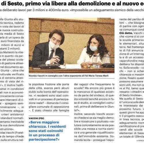 NICOLAS VACCHI (FDI): STUDIO DI FATTIBILITÀ PER DEMOLIRE LA SCUOLA SECONDARIA DI SESTO? IL PD HA CHIESTO AI SESTESI?