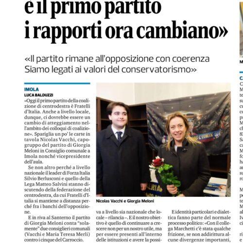 NICOLAS VACCHI: FRATELLI D'ITALIA È IL PRIMO PARTITO, I RAPPORTI ORA CAMBIANO.