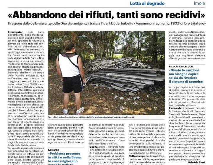 NICOLAS VACCHI (FDI): ABBANDONO DEI RIFIUTI, TANTI PROBLEMI, RIVEDERE IL METODO DI RACCOLTA.